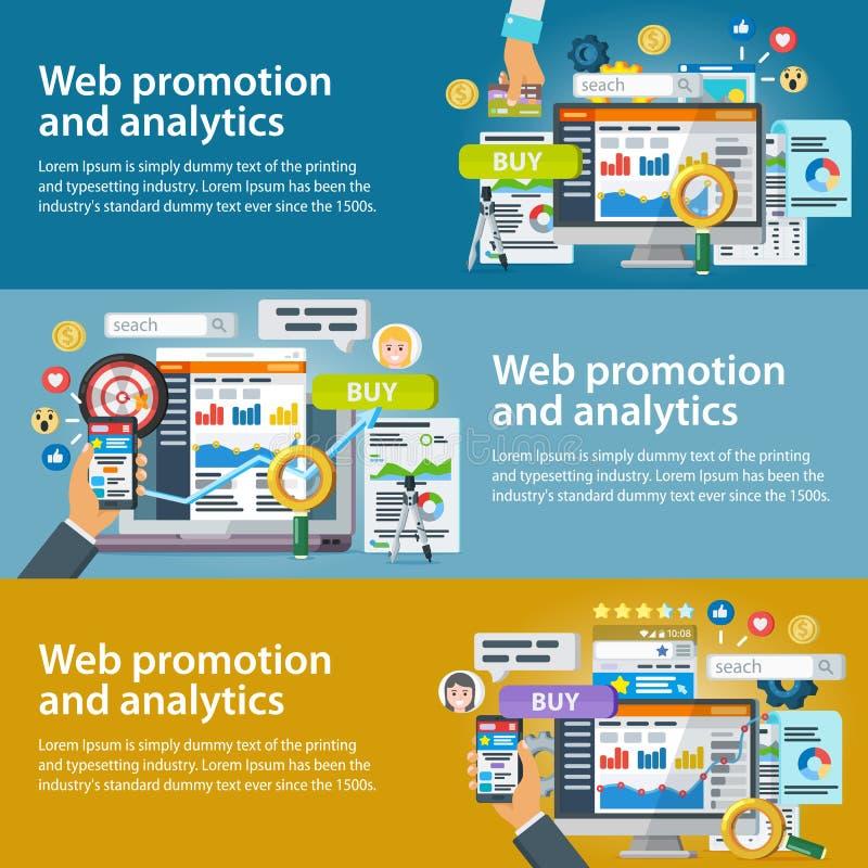 Sieci promocja i analityka informacja Set sztandary w mieszkanie stylu Internetowy handel, ogólnospołeczne sieci, marketing i res ilustracji