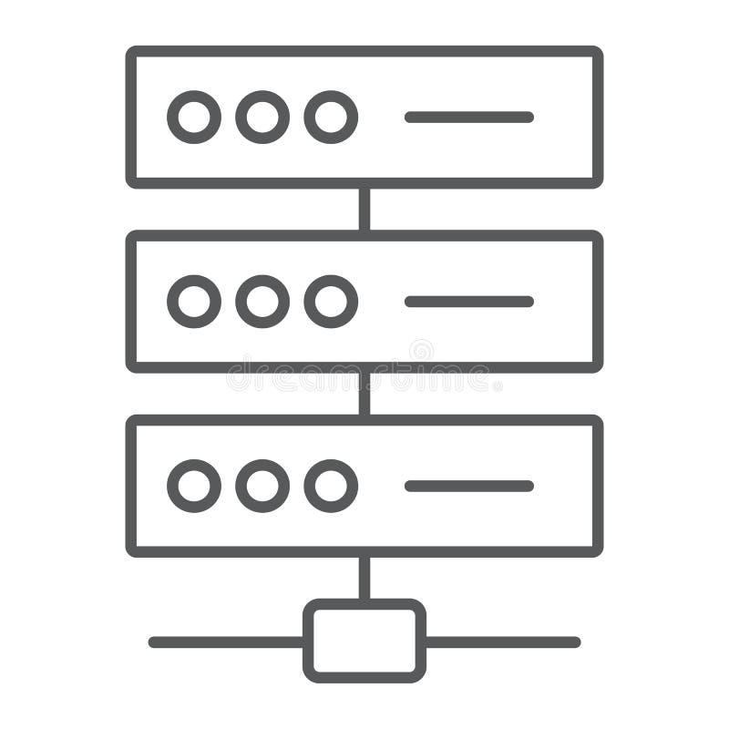 Sieci przesyłania danych cienka kreskowa ikona, dane analityka royalty ilustracja