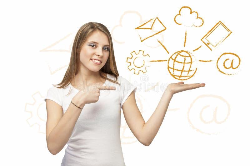 Sieci rozwiązania dziewczyna zdjęcie royalty free