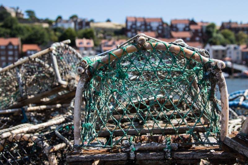 Sieci rybackie w Whitby schronieniu obraz royalty free
