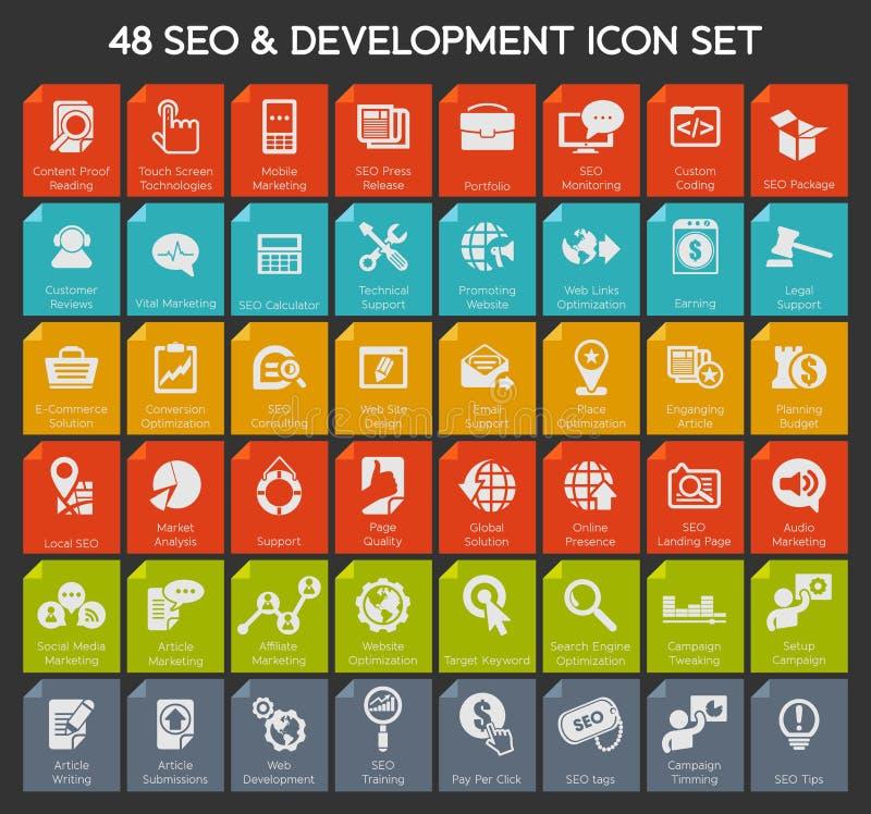 Sieci seo ikony set ilustracji