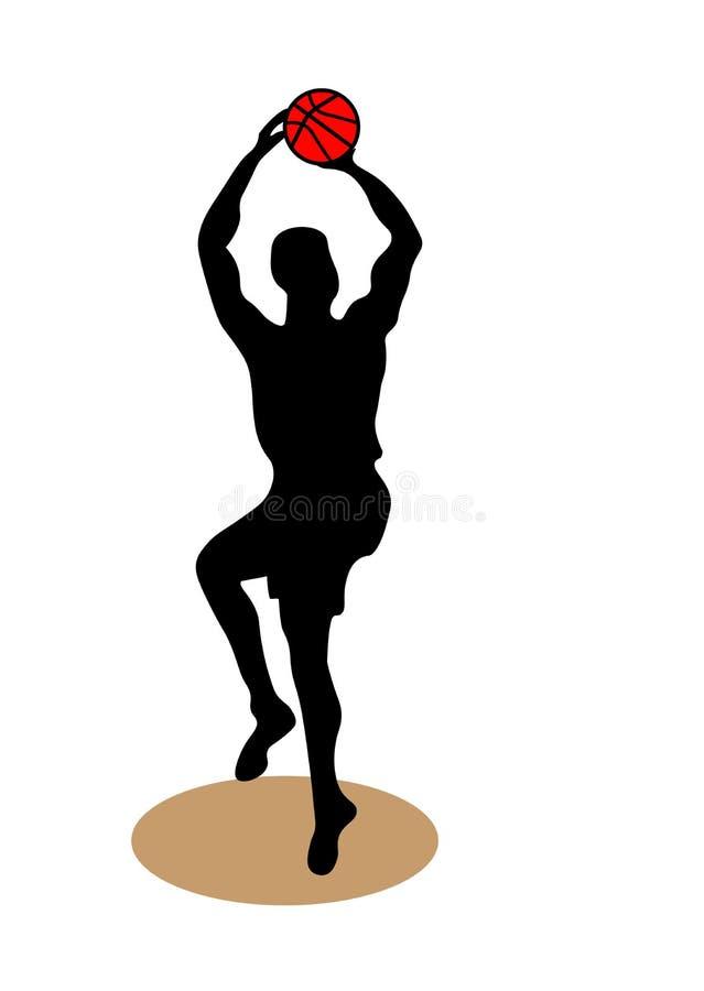 Sieci sylwetka gracz koszykówki Gracza koszykówkiego bieg z piłką, grungy wektorowa sylwetka royalty ilustracja