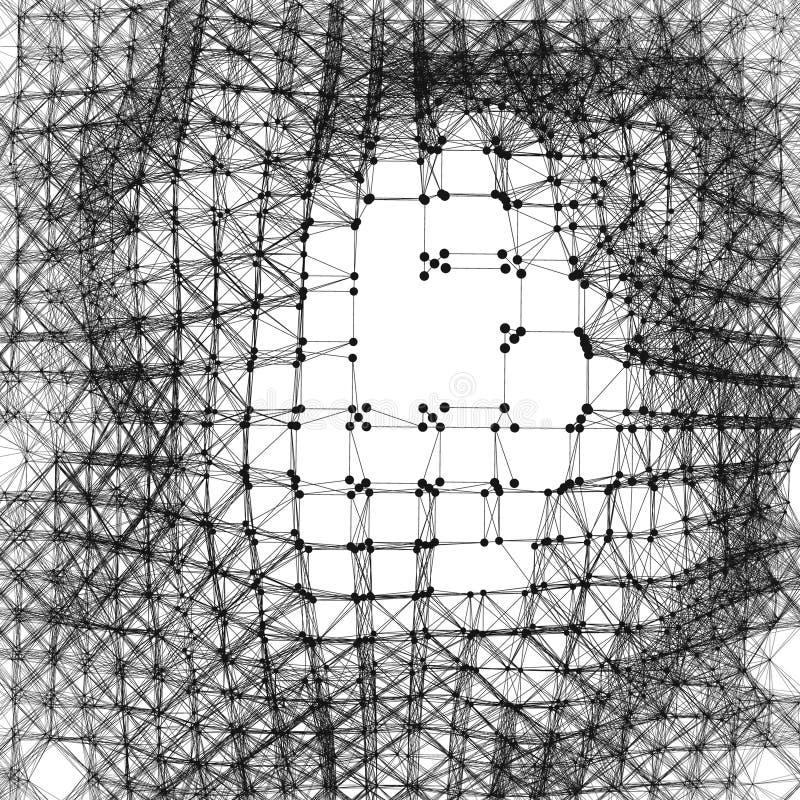 Sieci tło Podłączeniowa struktura Wireframe Poligonalna Wektorowa ilustracja 3D technologii styl Pajęczyny Lub pająka sieć royalty ilustracja