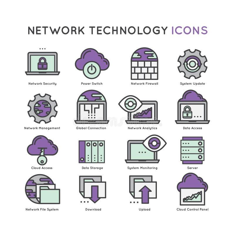Sieci technologii ikony set ilustracji