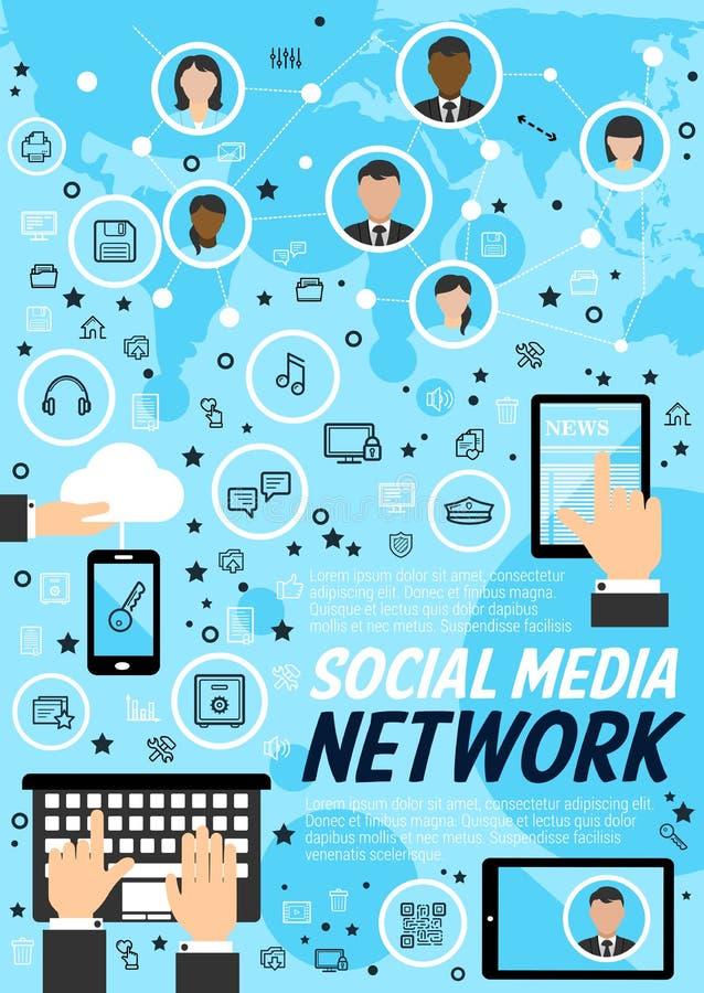 Sieci technologii ogólnospołeczny medialny pojęcie ilustracja wektor