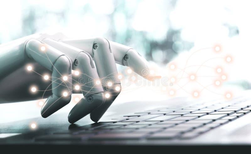 Sieci technologii robota pojęcia lub robot ręki chatbot naciska komputerową klawiaturę obraz royalty free