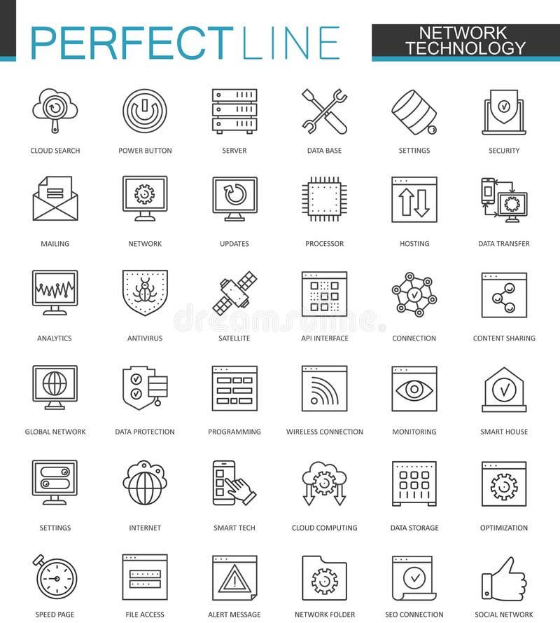 Sieci technologii sieci cienkie kreskowe ikony ustawiać Duży dane konturu uderzenia ikon projekt royalty ilustracja