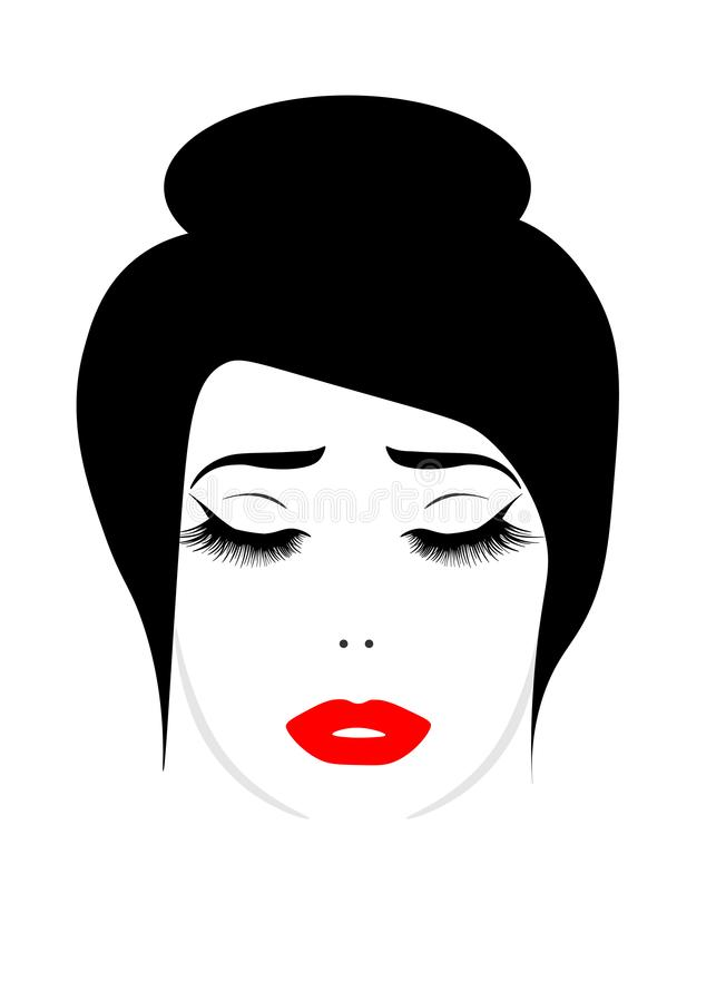 Sieci twarz piękna młoda kobieta z batami ilustracja wektor