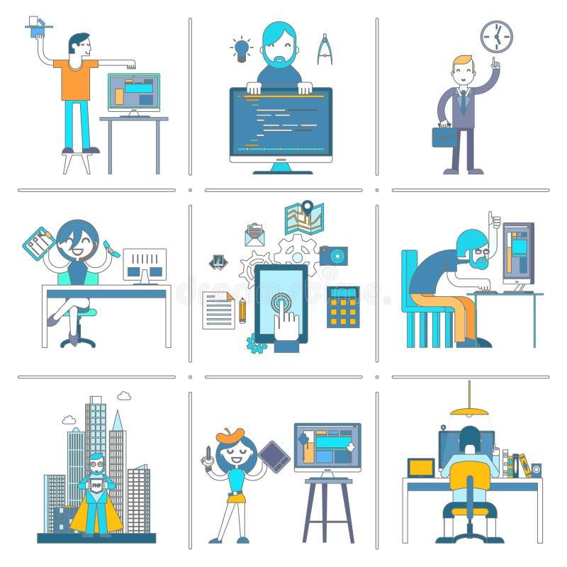Sieci zespół ds. rozwoju charakterów ikon linii set royalty ilustracja