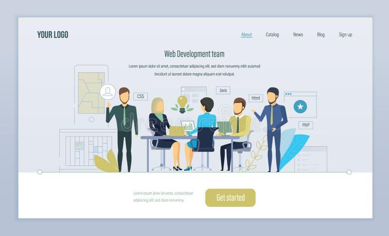 Sieci zespół ds. rozwoju Praca zespołowa, na projektach Rozwój w na wysokim szczeblu językach ilustracja wektor
