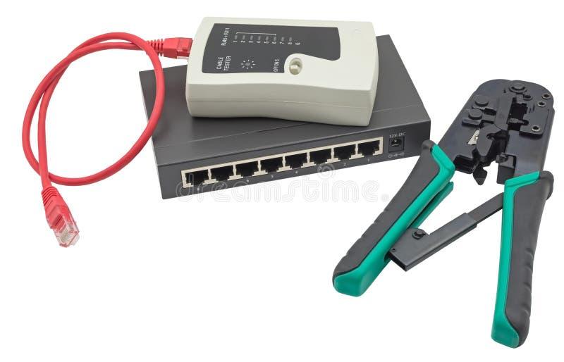 Sieci zmiana, etherneta kabel, crimper i RJ45 kablowy tester, zdjęcie stock