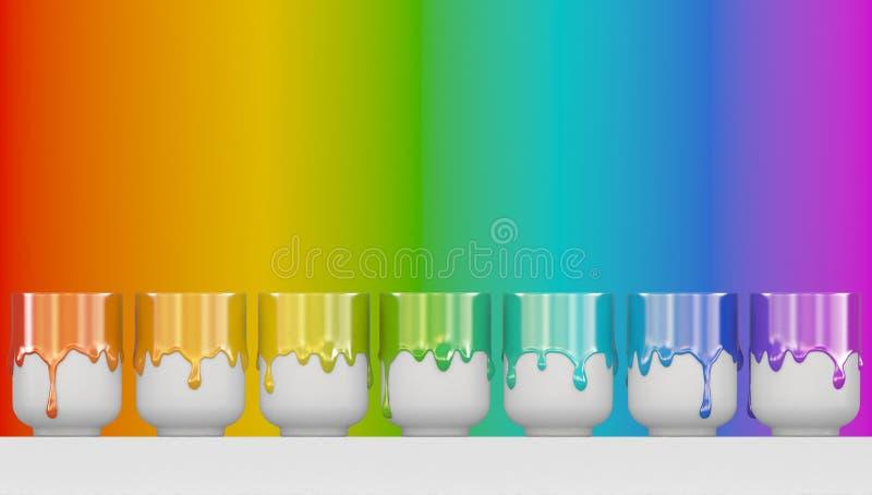 Siedem сups z przeciekającą guasz farbą są z rzędu Gęsta tęcza koloru farba Sztandar z kopii przestrzeni? ?wiadczenia 3 d ilustracja wektor