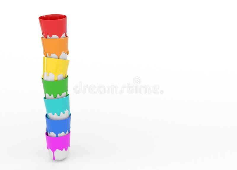 Siedem сups z przeciekającą guasz farbą są z rzędu pojedynczy bia?e t?o Gęsta tęcza koloru farba ilustracja wektor