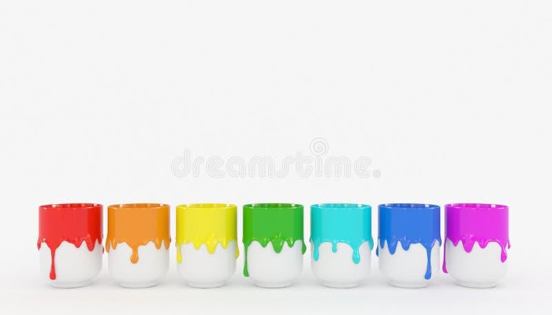 Siedem сups z przeciekającą guasz farbą są z rzędu pojedynczy bia?e t?o Gęsta tęcza koloru farba royalty ilustracja