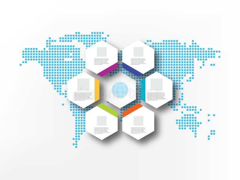 Siedem białych sześciokątów na tle abstrakcjonistyczny światowej mapy biznesu infographics royalty ilustracja