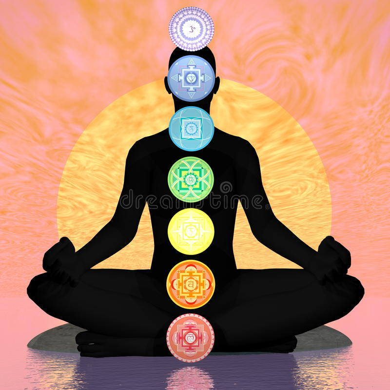 Siedem chakra symboli/lów szpaltowych na czarnej istocie ludzkiej zmierzchem - 3D odpłacają się ilustracji