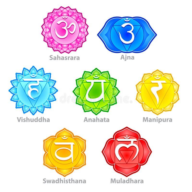 Siedem chakras ikon wektoru set ilustracja wektor