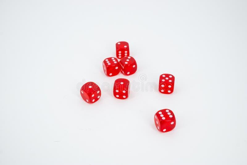 Siedem czerwień dices zdjęcie stock