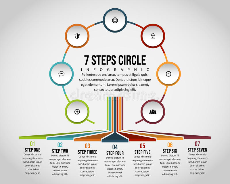 Siedem kroków okrąg Infographic royalty ilustracja