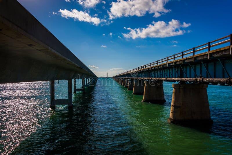 Siedem mil most na Zamorskiej autostradzie w maratonie, Floryda fotografia royalty free