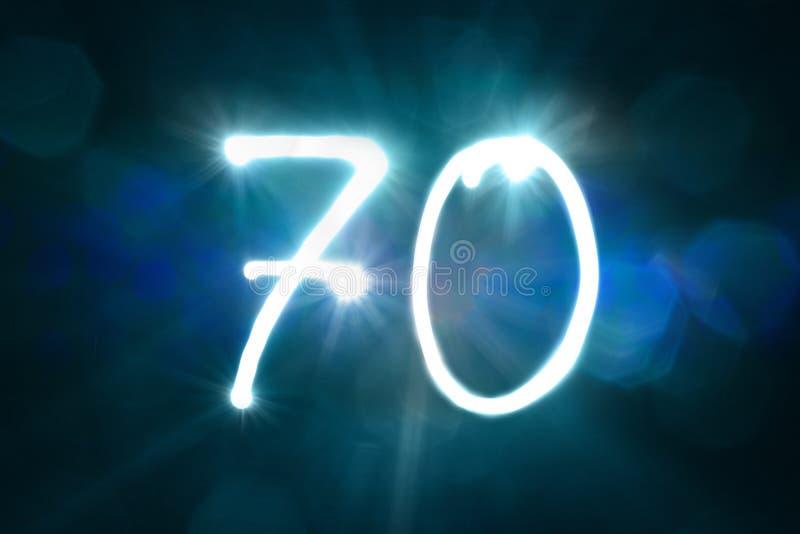 Siedemdziesiąt lekkich błyskotanie połysku liczby rocznicy rok obraz stock