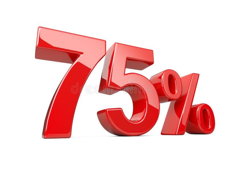Siedemdziesiąt pięć czerwień procentu symboli/lów 75% odsetka tempo Dodatek specjalny royalty ilustracja