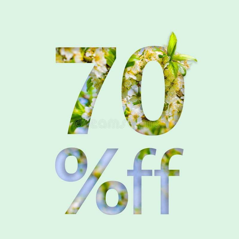70% siedemdziesiąt procentów z rabata Kreatywnie pojęcie wiosny sprzedaż, elegancki plakat, sztandar, promocja, reklamy ilustracja wektor
