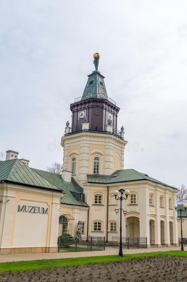View for roof with scupulture on the roof. Town hall of Siedlce, Poland. Siedlce, Poland - April 16, 2018: View for roof with scupulture on the roof. Town hall stock image