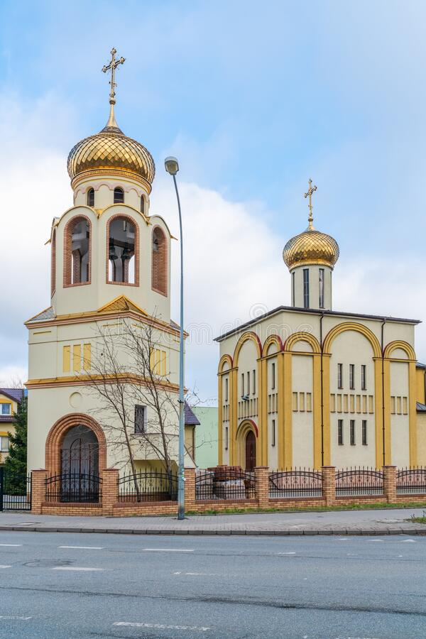 Siedlce, Poland. JANUARY 23 2020: Eastern Orthodox church of the Holy Trinity in Siedlce was consectated in June 1990. It`s architecture is based on Orthodox royalty free stock photo