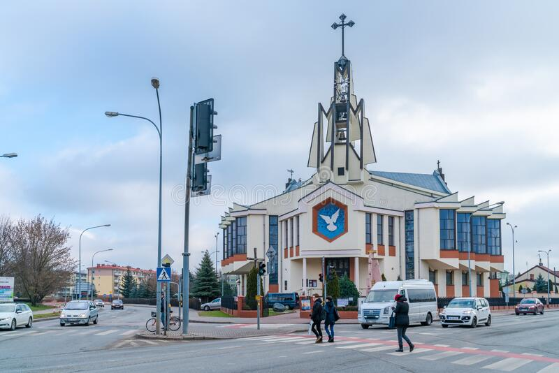 Siedlce, Poland. JANUARY 23 2020: Roman Catholic Church of the Holy Spirit in Sieldce was built between 1993-1999 and was consecrated on 11/1999 by bishop Jan stock images