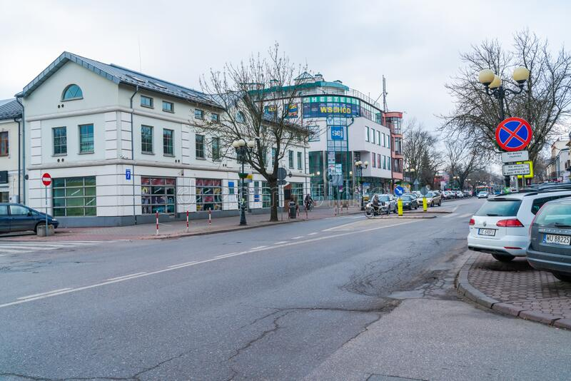 Siedlce, Poland. JANUARY 23 2020: Street view in Siedlce, a city with 77,872 inhabitants in eastern Poland situated in the Masovian Voivodeship. It lies on royalty free stock photography