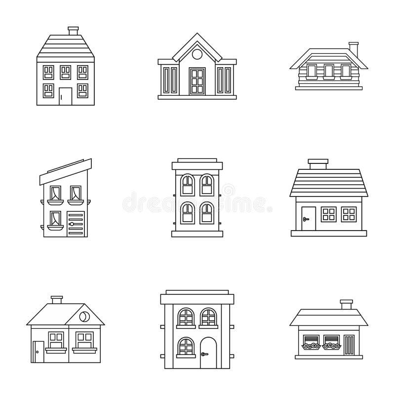 Siedlisko ikony ustawiać, konturu styl ilustracja wektor