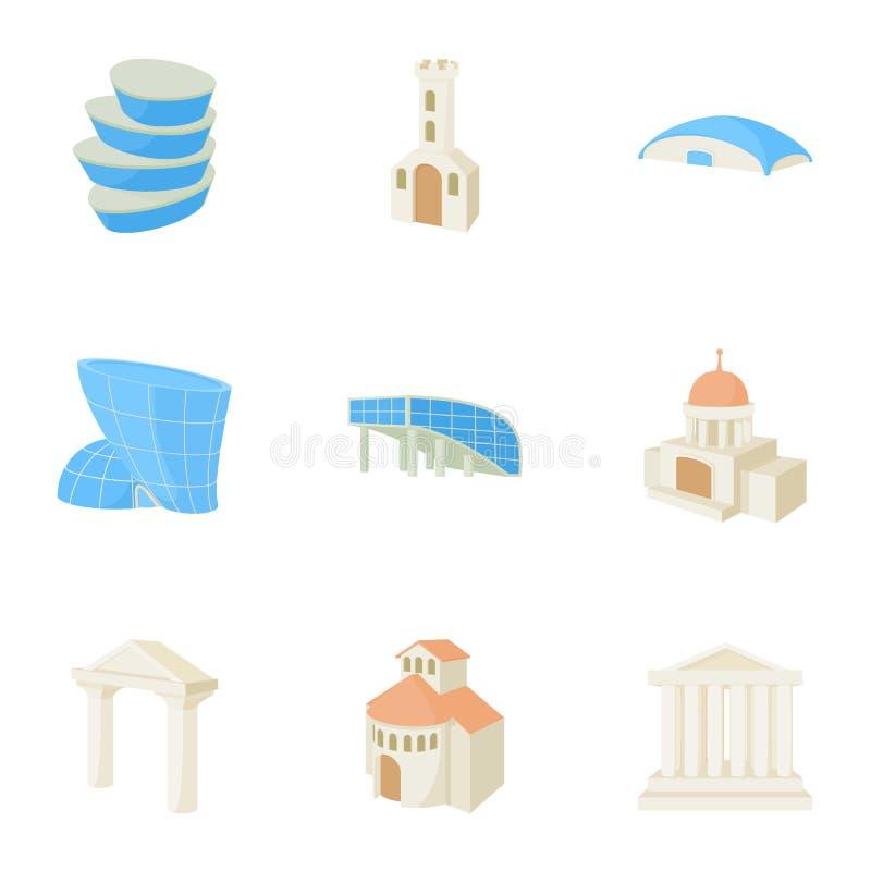 Siedlisko ikony ustawiać, kreskówka styl ilustracji
