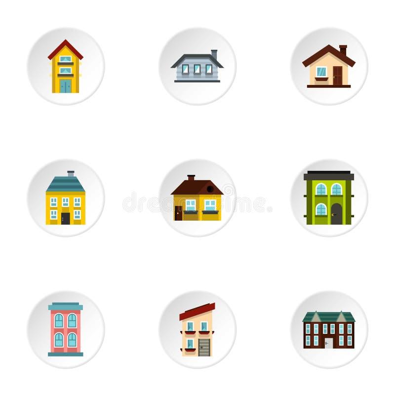 Siedlisko ikony ustawiać, mieszkanie styl royalty ilustracja