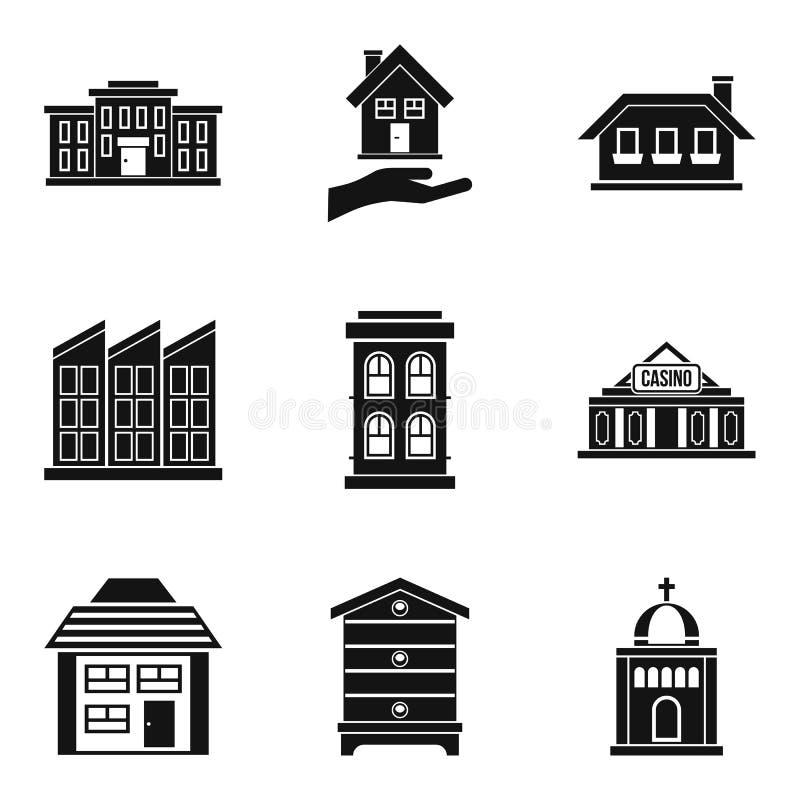 Siedlisko ikony ustawiać, prosty styl ilustracja wektor