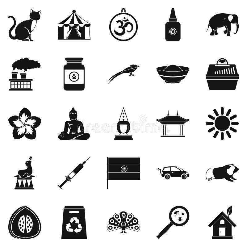 Siedlisko ikony ustawiać, prosty styl ilustracji
