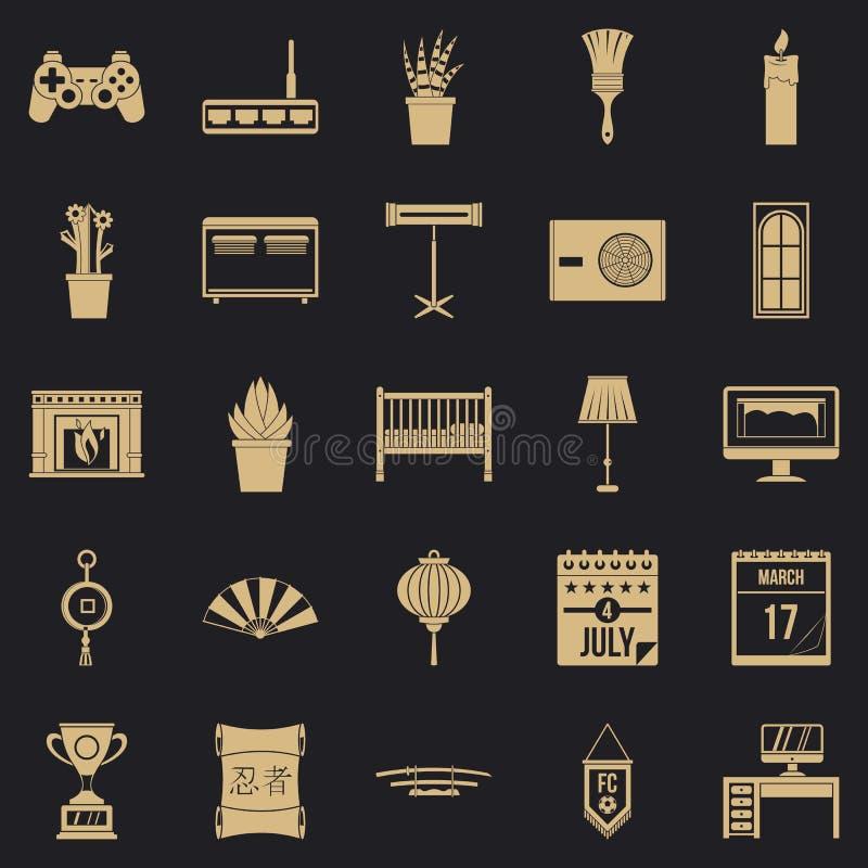 Siedlisko ikony ustawiać, prosty styl royalty ilustracja