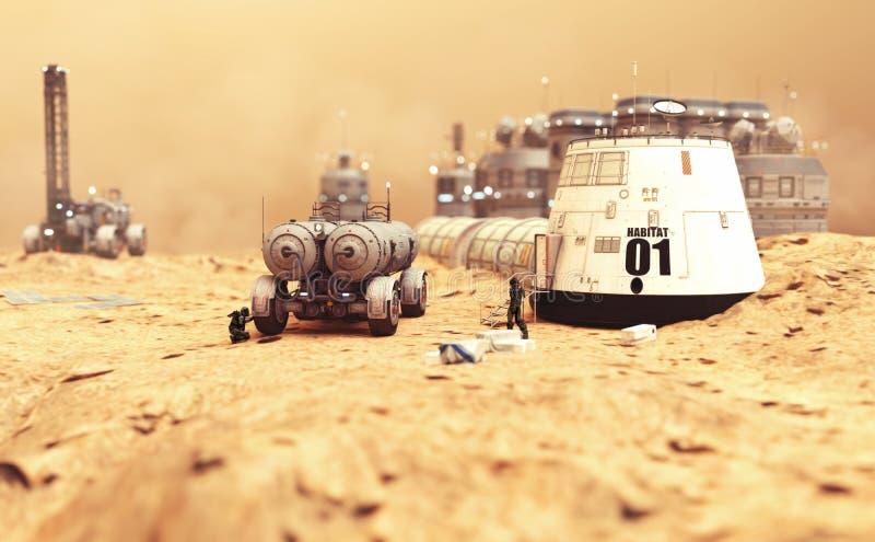 Siedlisko ugody badawcze i żywe ćwiartki na zdewastowanej czerwonej planecie Mars royalty ilustracja