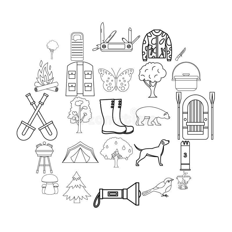 Siedlisko zwierzę ikony ustawiać, konturu styl ilustracji