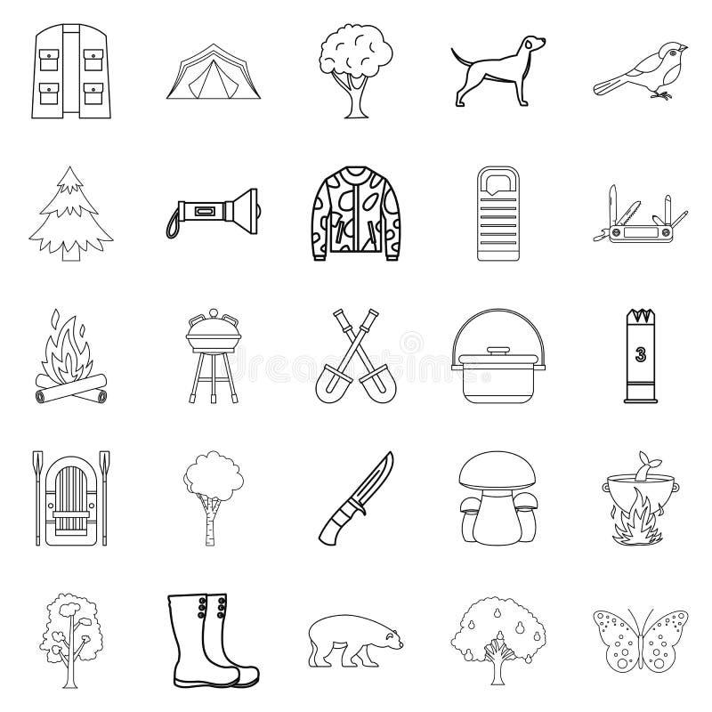 Siedlisko zwierzę ikony ustawiać, konturu styl royalty ilustracja