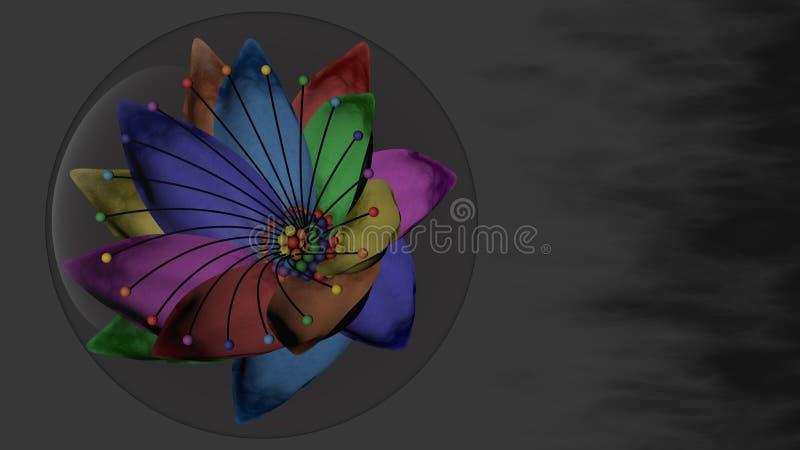 siedmiobarwny kwiat W bąblu zdjęcie stock