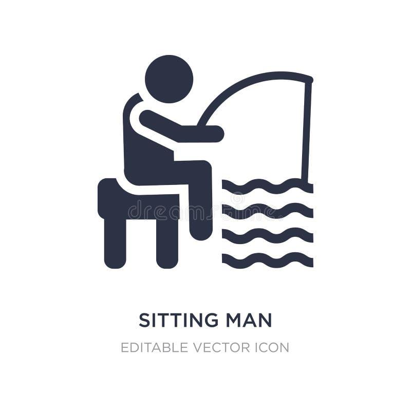 siedząca mężczyzny połowu ikona na białym tle Prosta element ilustracja od ludzi pojęć royalty ilustracja