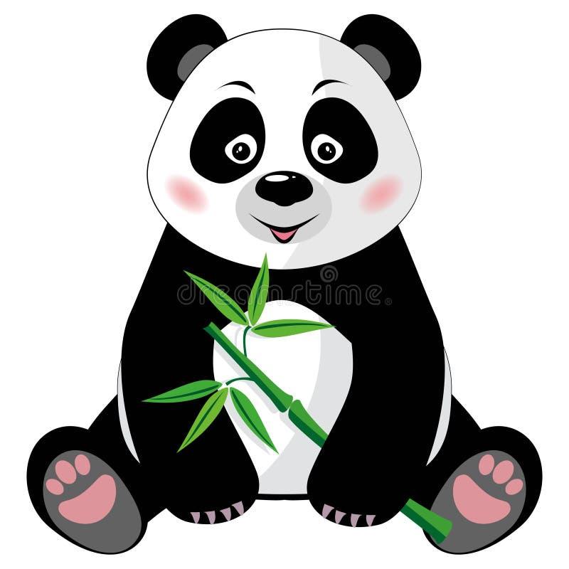 Siedząca śliczna panda z bambusem odizolowywającym na białym b ilustracja wektor