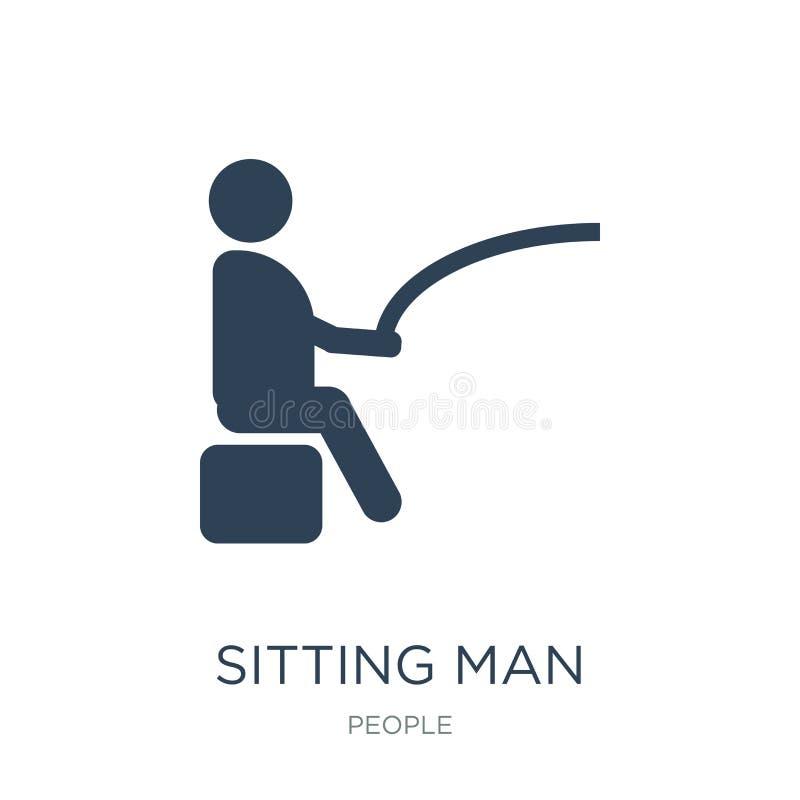 siedząca mężczyzny połowu ikona w modnym projekta stylu siedząca mężczyzny połowu ikona odizolowywająca na białym tle siedzący mę ilustracja wektor