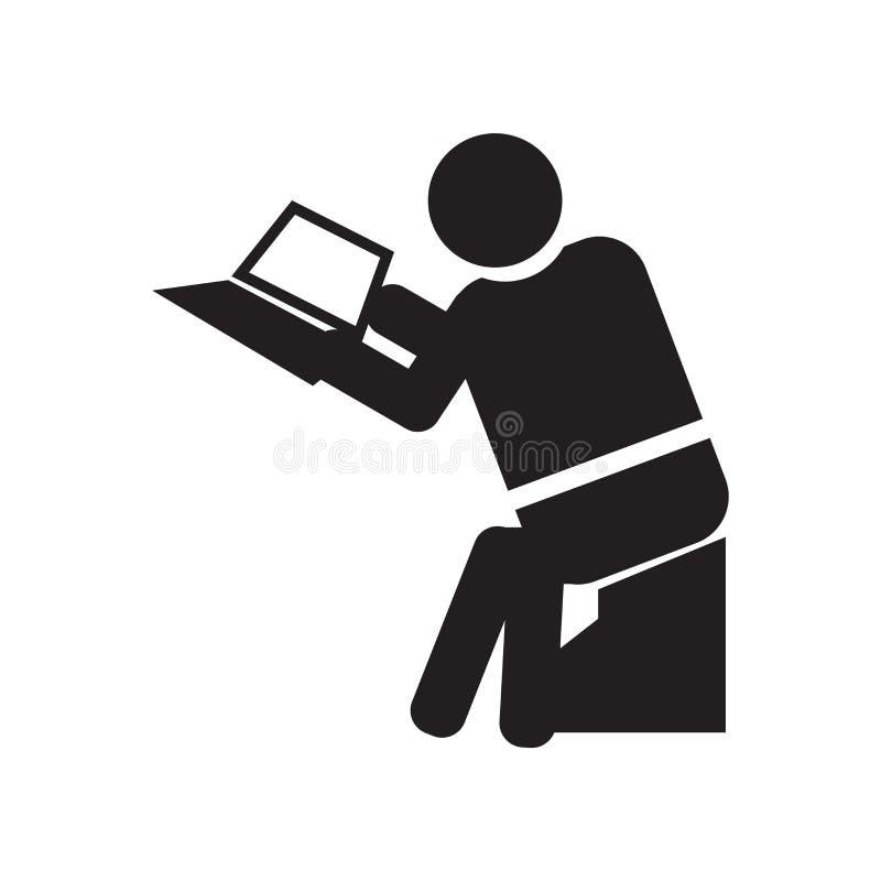 Siedzącego mężczyzny ikony wektoru czytelniczy znak i symbol odizolowywający na białym tle, Siedzi mężczyzny logo czytelniczego p ilustracja wektor