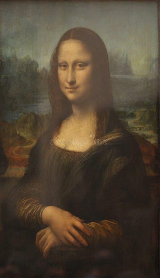Siedzącej starej obrazu obrazka brunetki Długie Włosy dama Mona Lisa ilustracja wektor