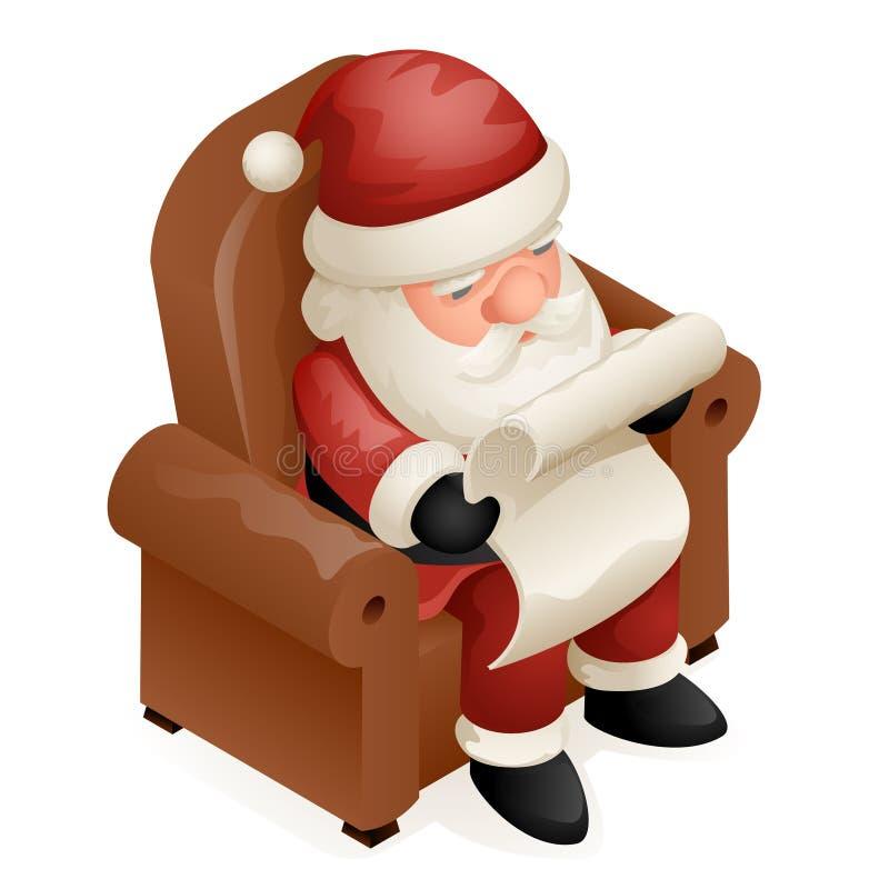 Siedzi karło Czytającego prezent listy 3d Święty Mikołaj nowego roku kreskówki Ślicznego Isometric Bożenarodzeniowego Dziadek Mro ilustracja wektor