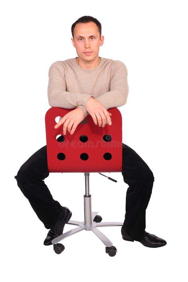 Siedzi Młody Człowiek Krzesło Obraz Stock