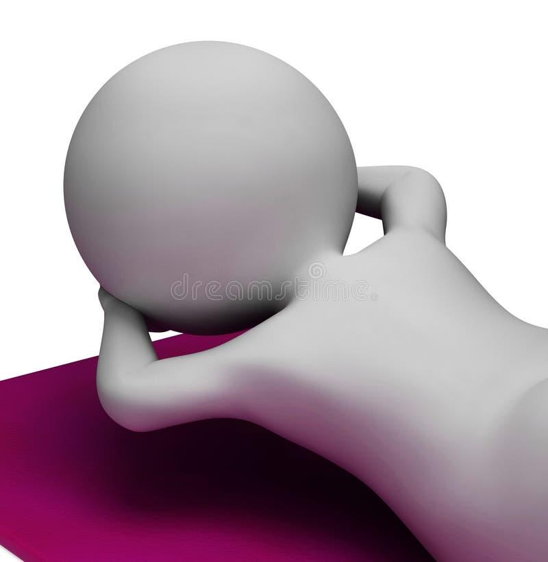 Siedzi Podnosi przedstawienia Dostaje napadu I podbrzuszy 3d rendering ilustracja wektor