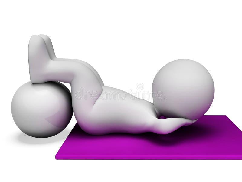 Siedzi Podnosi Reprezentuje Brzusznego chrupnięcia I chrupnięć 3d rendering ilustracji